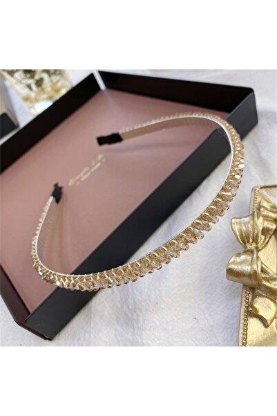 SO-MUCH Mathilda Kadın Zara Model Kristal Örme Ince Taç Saç Bandı Krem