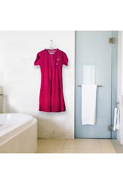 Cicikom Pamuklu Kollu Yarım Düğmeli Banyo Ve Plaj Havlu Elbise Pratik Otel Ve Hamam Havlu Elbise