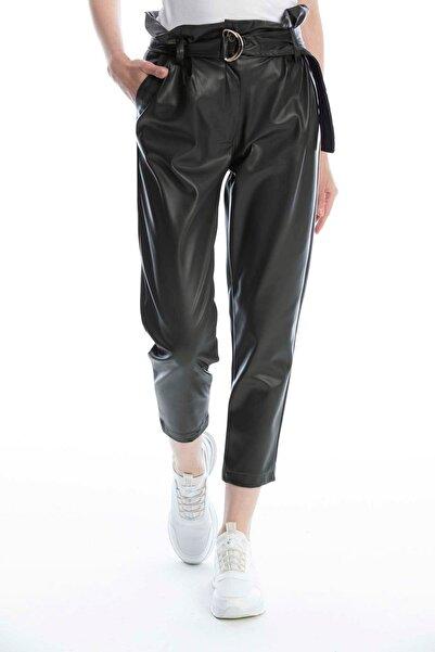 Makferlan Kadın Haki Beli Tokalı Kemerli Fırfırlı Yanlar Çift Cepli Suni Deri Pantolon