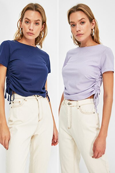 TRENDYOLMİLLA 2'li Paket Lacivert-Lila Büzgülü Basic Örme T-Shirt TWOSS21TS3828