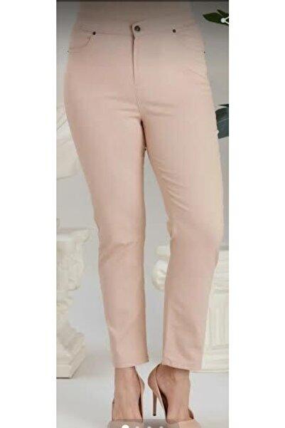 MIARTE Neri Büyük Beden 5 Cep Boru Paça Ara Bel Likralı Pamuklu Keten Pantolon