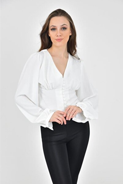 Modkofoni V Yaka Düğmeli Balon Kol Beyaz Bluz