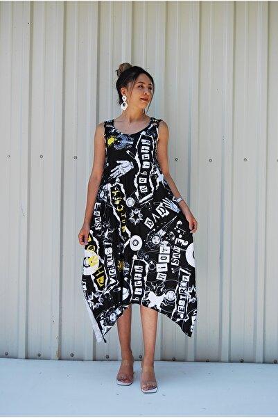 MGS LİFE Kadın, Askılı, Toka Detaylı, Asimetrik Kesim, Büyük Beden Elbise