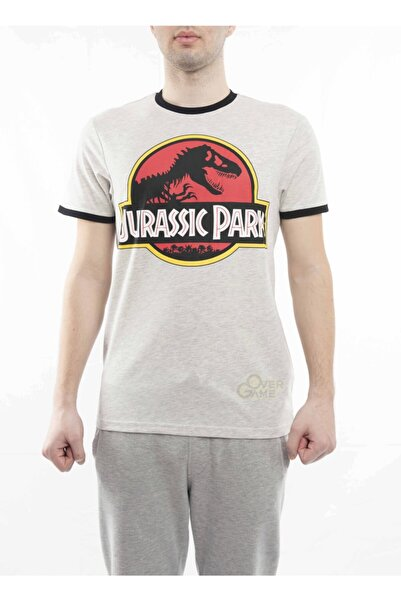 MARVEL Jurassic Park Logo Baskılı Biyeli Gri T-shirt