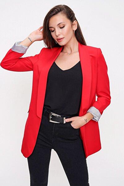 By Saygı Kol Katlamalı Blazer Ceket Kırmızı