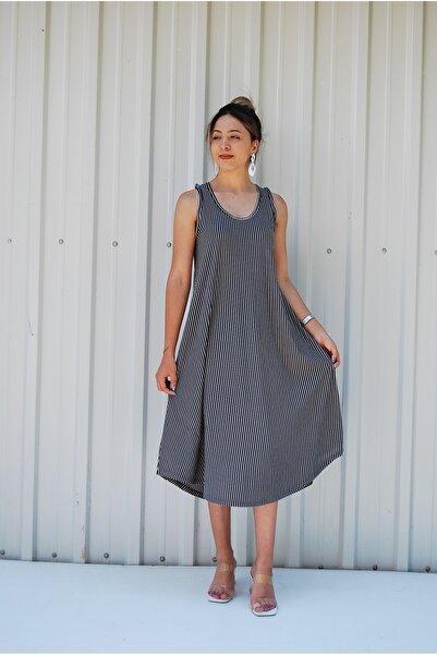 MGS LİFE Sırt Dekolteli Askılı Büyük Beden Kadın Yazlık Elbise
