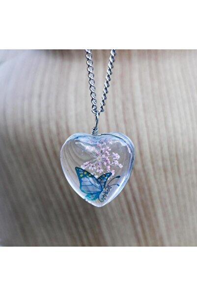beyloc Kadın Yaşayan Kolye Ağaç Lacivert Kelebek Pembe Kalp Model Kolye