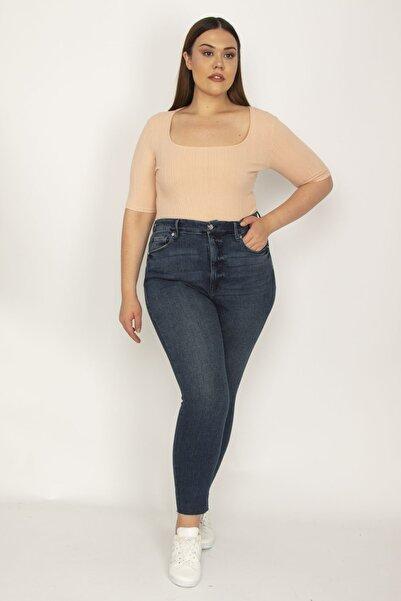 Şans Kadın Lacivert 5 Cep Likralı Slim Fit Kot Pantolon 65N26092