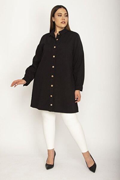 Şans Kadın Siyah Pamuklu Gabardin Kumaş Ön Boy Düğmeli Gömlek Ceket 65N26185