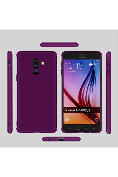 Samsung Galaxy J8 Kılıf Köşe Korumalı Silikon Arka Kapak Mor