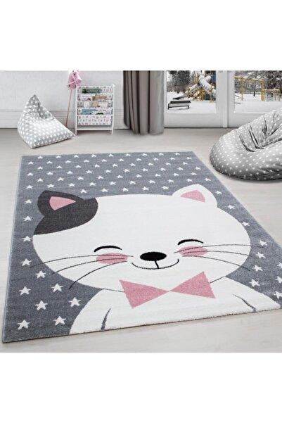 AYYILDIZ Çocuk Halısı Sevimli Kedi Ve Yıldız Desenli Gri-pembe-beyaz