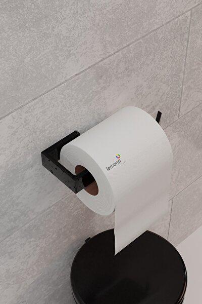 Lemona Metal Parlak Siyah Wc Kağıtlık Tuvalet Kağıtlığı Tuvalet Kağıdı Askısı Yapışkanlı Tasarım