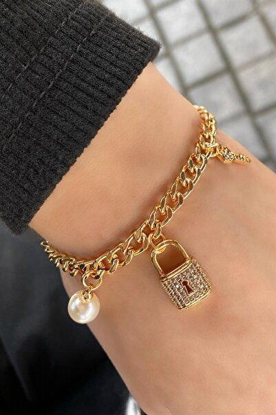 TAKIŞTIR Altın Renk Anahtar Ve Kilit Figürlü Zincir Bileklik