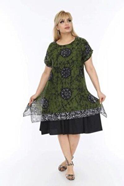 Kadın Büyük Beden Haki Etnik Desenli Tülbent Kumaş Yazlık Elbise
