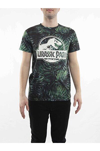 MARVEL Jurassic Park Beyaz Vinyl Logo Yeşil T-shirt-lisanslı