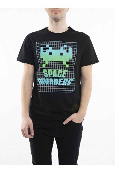 MARVEL Space Invaders Green Icon Baskılı Siyah T-shirt