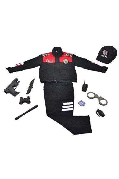 Liyavera Unısex Kırmızı Yunus Polis Kostümü Çocuk Kıyafeti Üniforması