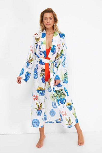 TRENDYOLMİLLA Renkli Mozaik Desenli Vual Kimono&Kaftan TBESS21KM0090