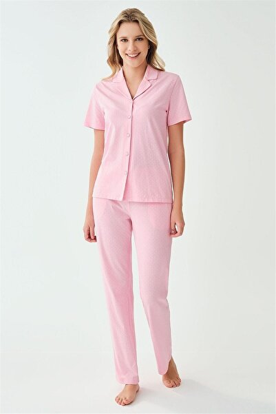 Eros Pijama Pamuk Kısa Kollu Puantiyeli Kadın Pijama Takımı 28706