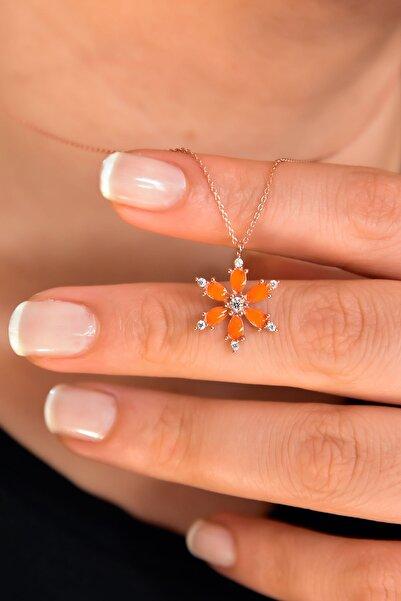 Papatya Silver 925 Ayar Gümüş Rose Kaplama Turuncu Sedef Mineli Kamelya Çiçeği Kolye