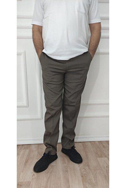 nacar çarşı Erkek Büyük Beden Klasik Rahat Kalıp Toprak Rengi Keten Pantolon