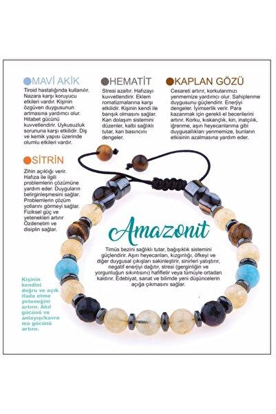 OSMANLI DOĞAL TAŞ Doğal Taş Bileklik - Amazonit,mavi Akik,hematit,kaplan Gözü,sitrin