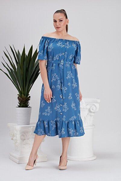 RMG Kadın Yaka Büzgülü Baskılı Indigo Büyük Beden Elbise