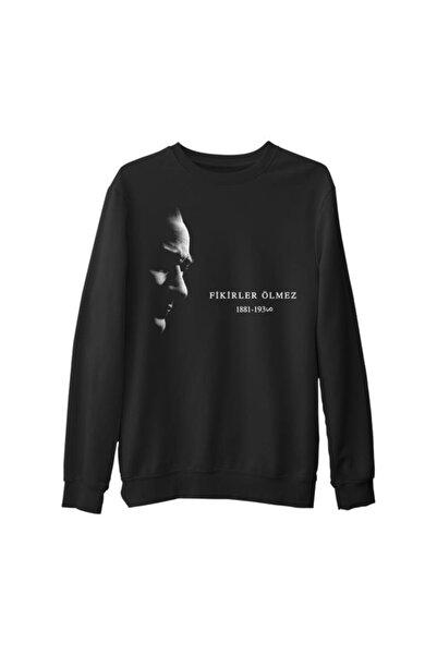Lord T-Shirt Erkek Siyah Atatürk - Fikirler Ölmez Baskılı Kalın Sweatshirt