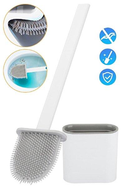 Tilbe Home Beyaz Klozet Fırçası Silikonlu Banyo Tuvalet Fırçası Ve Tutucu Seti Beyaz