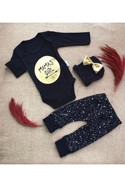 Kardelya Baby Şapkalı Mamas Girl 3'lü Kız Bebek Takımı