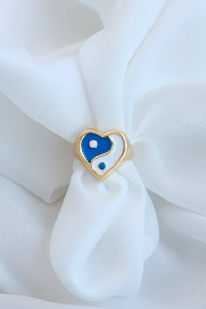 Niki Aksesuar Mavi-beyaz Kalpli Ying Yang Yüzük