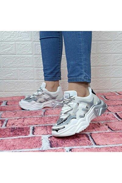 Hammer Jack 21430 Beyaz Kalın Tabanlı Spor Ayakkabı