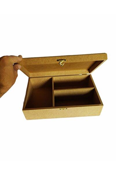 değerli hobi Ahşap Boyama Üç Gözlü Kapaklı Takı Vs Kutu 32x20x10 cm