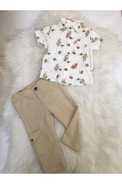 Bebetto Safari Tema Bej Kargo Pantolon Ve Pike Gömlek İkili Takım