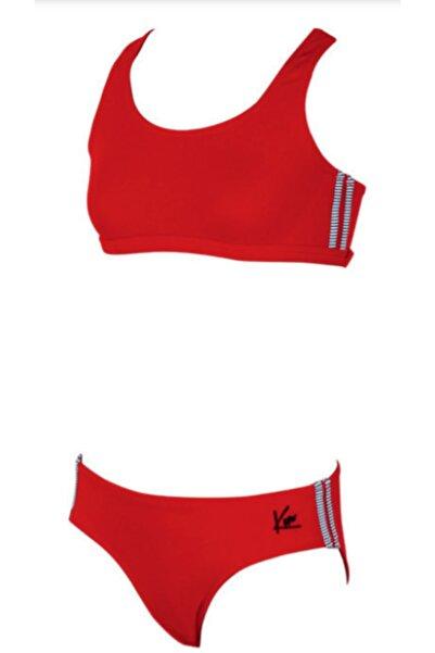 Kom Kırmızı Çizgili Kız Çocuk Bikini Takımı
