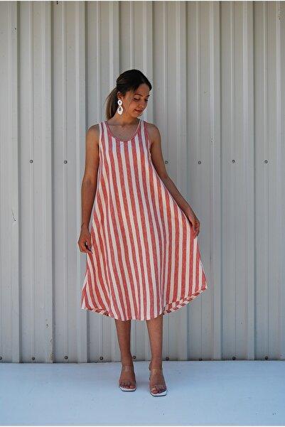 MGS LİFE Sırt Dekolteli Askılı Büyük Beden Yazlık Elbise
