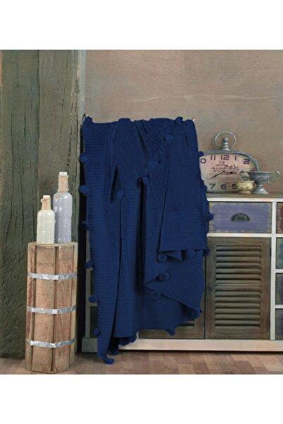 İpekçe Home Ipekçe 130 * 170 Laura Ponponlu Diz Battaniyesi Lacivert