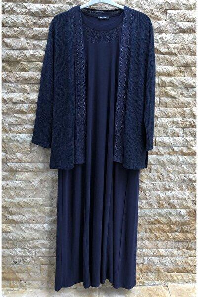 papilla Bayan Büyük Beden Elbise 9121 Lacivert