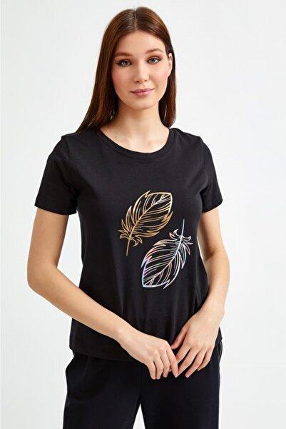 İKİLER Kadın Yuvarlak Yaka Baskılı Kısa Kol T-Shirt 021-1022