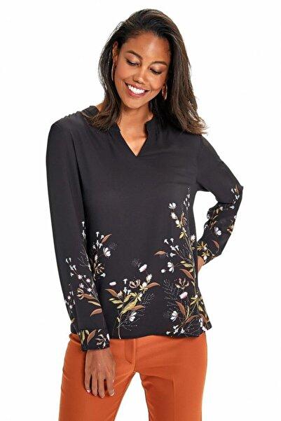 İKİLER Kadın Siyah Hakim Yaka Uzun Kol Desenli Bluz 190-3029