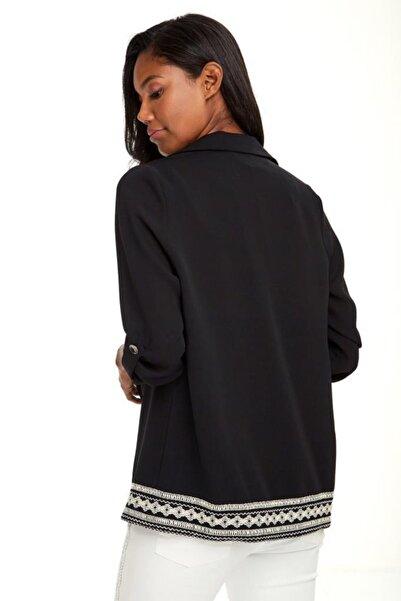 İKİLER Kadın Siyah Eteği Şeritli Kolları Apoletli Ceket 020-5001