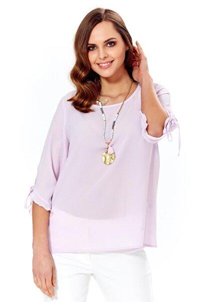 ��KİLER Kadın Lila Kol Uçları Bağcıklı Ve Fırfırlı Bluz 018-4006