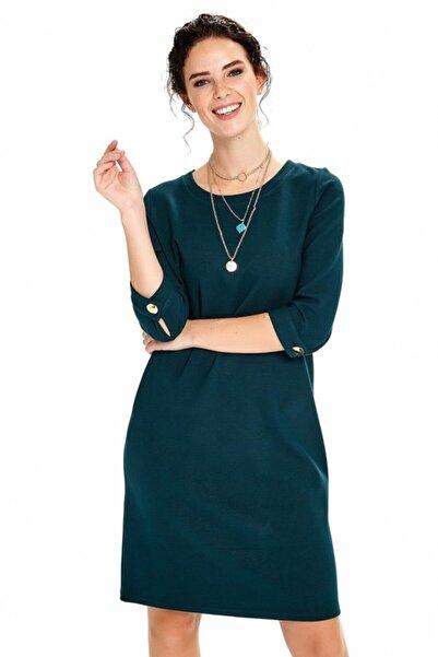 İKİLER Kadın Mavi Kolları Düğmeli Elbise