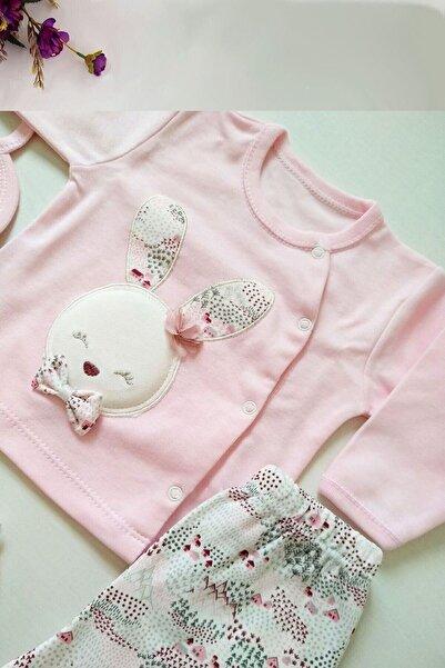 Gaye Bebe Kız Bebek Pembe Pamuklu Tavşan Desenli Hastane Çıkışı 5li