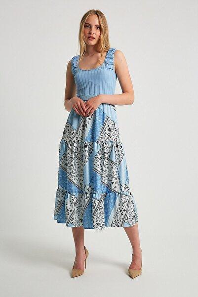 Robin Triko Detaylı Desenli Elbise Mavi