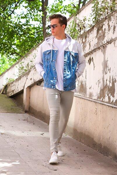 julude Kapüşonlu Erkek Jean Ceket