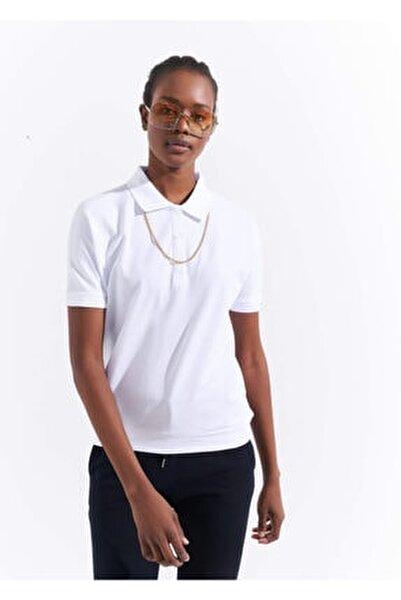 Kadın Beyaz Basic Yarasa Kol Polo Yaka T-shirt