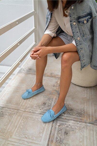 ANGELİNA JONES Kadın Mavi Suet Loafer Ayakkabi