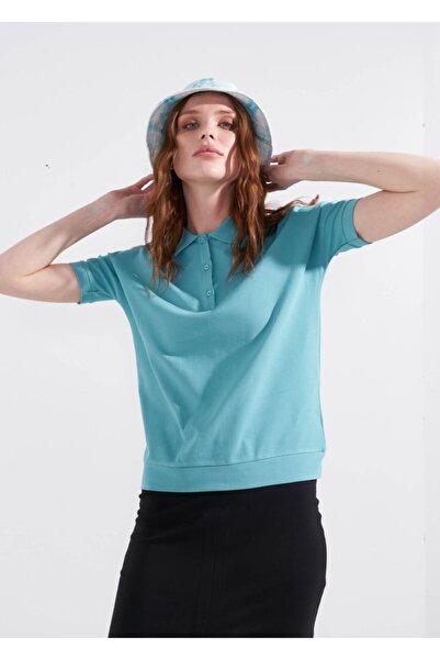 Adze Kadın Nefti Basic Yarasa Kol Polo Yaka T-shirt