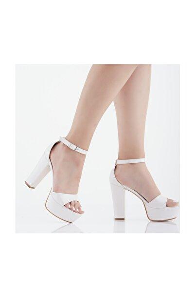 Karmen Ayakkabı Sedef Cilt Bantlı Platform Topuklu Abiye Ayakkabı